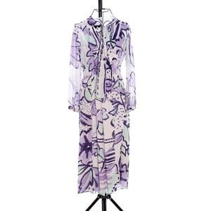 Burberry Floral Print Silk Smock Dress - Size 36